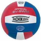 Tachikara Indoor Full Grain Leather Competition Volleyball (Scarlet / White / Royal) by