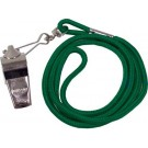 Nickel Plated Whistles and Green Lanyards - 1 Dozen