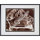 "Polo Grounds, New York Giants, Aerial View, Sepia, Double Matted  8"" X 10"" Photograph in Black Anodized Aluminum Frame"