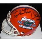 Danny Wuerffel and Chris Leak Dual Autographed Florida Gators 2x National Championship Logo Mini Helmet with Inscriptions