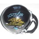 Fred Taylor Autographed Jacksonville Jaguars Replica Mini-Football Helmet (Teal Autograph)