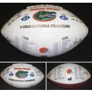 Steve Spurrier, Danny Wuerffel, Urban Meyer and Chris Leak 4x Autographed Florida Gators Full Size 2X Champs Football