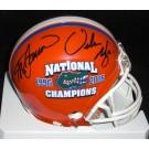 Steve Spurrier and Urban Meyer Dual Autographed Florida Gators 2x National Championship Logo Mini Helmet