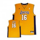 Pau Gasol Los Angeles Lakers #16 Revolution 30 Replica Adidas NBA Basketball Jersey (Gold)