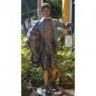 """Golf Caddy with Lantern"" Bronze Garden Statue - Approx. 65"" High"