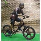 """""""Boy Riding Bike"""" Bronze Garden Statue - Approx. 21"""" High by"""