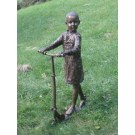 """""""Racing Down the Street (Girl on Scooter)"""" Bronze Garden Statue - Approx.... by"""