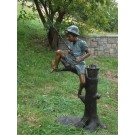 """Catch of the Day (Boy Fishing on Tree)"" Fountain Bronze Garden Statue - Approx. 34"" High"