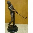 """""""Following Through (Tabletop Golfer)"""" Bronze Garden Statue - Approx. 18"""" High"""