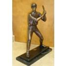 """""""Batter (Tabletop Baseball Player)"""" Bronze Garden Statue -Approx. 18"""" High"""
