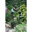 """Huck and Finn (Boys Fishing on Tree)"" Fountain Bronze Garden Statue - Approx. 59"" High"