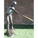 """""""Middle of Swing (Baseball Batter)"""" Bronze Garden Statue - Approx. 5' High"""