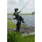 """Fresh Catch (Boy Fishing)"" Bronze Garden Statue - 70"" High"