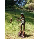 """Boy Gone Fishing"" Bronze Garden Statue - 81"" High"