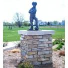 """Scotty - Boy Soccer Player"" Bronze Garden Statue - 24"" High"
