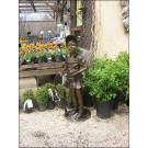 """""""Girl Tennis Player"""" Bronze Garden Statue - 50"""" High"""