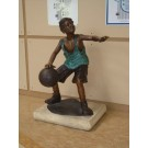 """""""Hoop Dreams Boy Playing Basketball"""" Bronze Garden Statue - 47"""" High"""