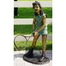 """""""Girl Tennis Player"""" Bronze Garden Statue - 49"""" High"""