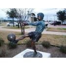 """""""Free Kick Soccer Boy"""" Bronze Garden Statue - 50"""" High"""