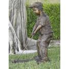"""Future Golf Champ-Boy"" Bronze Garden Statue - 36"" High"