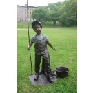 """Farmer Boy"" Bronze Garden Statue - Approx. 42"" High"