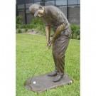 """""""Male Golfer Putting"""" Bronze Garden Statue - Approx. 5' High"""