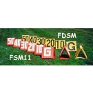 """14"""" x 15"""" Sideline Markers (Red with White Numbers) - Set of 11"""