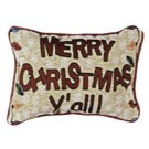 """Merry Christmas Y'all!"" 9"" x 12"" Holiday Tapestry Pillow From Simply Home"