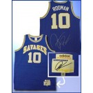 Dennis Rodman Autographed Southeastern Oklahoma Savages Authentic Blue Basketball Jersey