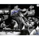 """Joe Frazier Autographed 16"""" x 20"""" Black & White Photograph featuring a Collage with Muhammad Ali (Unframed)"""