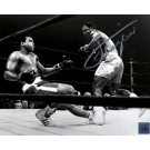 """Joe Frazier Autographed """"Knockdown"""" 16"""" x 20"""" Black & White Photograph with Muhammad Ali (Unframed)"""