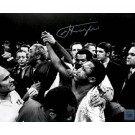 """Joe Frazier Autographed """"Victory Crowd"""" 16"""" x 20"""" Black & White Photograph with Muhammad Ali (Unframed)"""