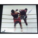 """Joe Frazier Autographed """"Against the Ropes"""" 16"""" x 20"""" Color Photo with Muhammad Ali (Unframed)"""