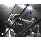 """Joe Frazier Autographed """"Right Cross"""" 16"""" x 20"""" Black & White Photograph with Muhammad Ali (Unframed)"""