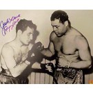 "Jake LaMotta Autographed ""LaMotta with Joe Louis"" 16"" x 20"" Unframed Black & White Photograph"