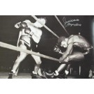 "Jake Lamotta Autographed ""Knocking Sugar Ray Robinson Through Ropes February 1943"" Black and White 20"" x 30"" Photograph (Unframed)"