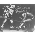 "Jake LaMotta Autographed ""Knocking Sugar Ray Robinson Through Ropes February 1943"" 8"" x 10"" Black & White Photograph  (Unframed)"