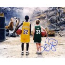 "Larry Bird Autographed ""with Magic Johnson as Children at the Boston Garden"" 8"" x 10"" Photograph (Unframed)"