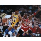 "Magic Johnson Autographed ""vs. Michael Jordan 2"" 8"" x 10"" Photograph (Unframed)"