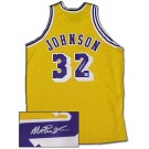 Magic Johnson Autographed Los Angeles Lakers Authentic Gold Basketball Jersey
