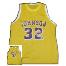 Magic Johnson Autographed Los Angeles Lakers Gold Replica Basketball Jersey