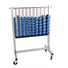 Dumbbell Rack with Casters and Neoprene Dumbbells (Silver Metallic) from TKO Sports