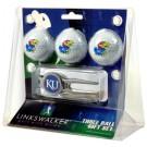 Kansas Jayhawks 3 Ball Golf Gift Pack with Kool Tool