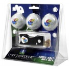 Kansas Jayhawks 3 Golf Ball Gift Pack with Spring Action Tool