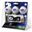 Kansas State Wildcats 3 Golf Ball Gift Pack with Spring Action Tool