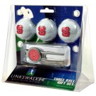 North Carolina State Wolfpack 3 Ball Golf Gift Pack with Kool Tool