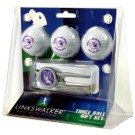 Northwestern Wildcats 3 Ball Golf Gift Pack with Kool Tool by