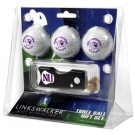 Northwestern Wildcats 3 Golf Ball Gift Pack with Spring Action Tool