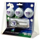 Texas Christian Horned Frogs 3 Ball Golf Gift Pack with Kool Tool