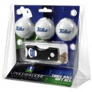 Tulsa Golden Hurricane 3 Golf Ball Gift Pack with Spring Action Tool